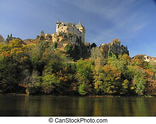 Castle Montfort , valley, forest, autumn,
