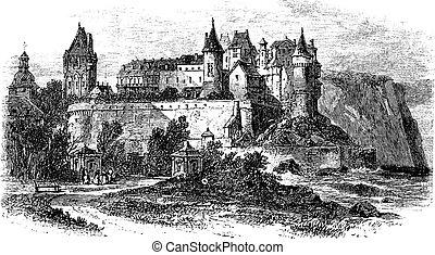Castle Museum of Dieppe in Normandy, France, vintage engraving