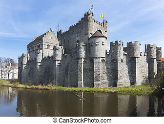 Castle of Ghent, Belgium, called Graevensteen. - Relatively...