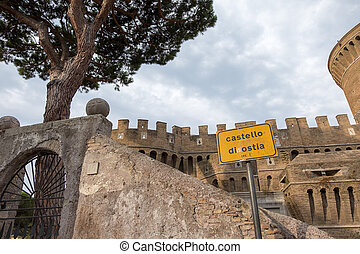 Castle of Giulio II in Ostia Antica Rome and Church