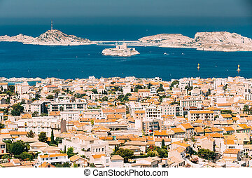 Castle of If in Marseilles, France - Aerial view, cityscape ...