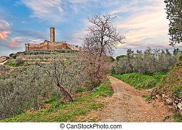castle of Montecchio Vesponi in Castiglion Fiorentino, Arezzo, Tuscany, Italy