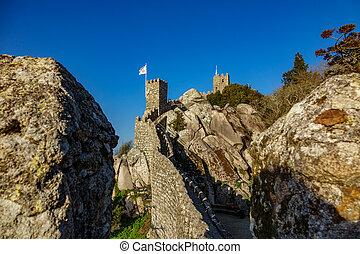Castle of Moors against blue sky, Sintra, Portugal - Bottom...