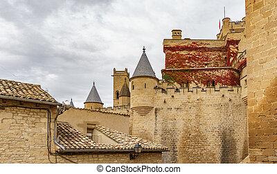 Castle of Olite against cloudy sky in Navarre, Spain