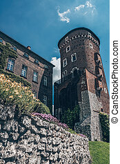 Castle of red brick and stones
