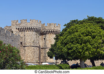 Castle of Rhodes island in Greece.