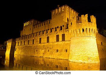 castle of Rocco Santivale di Fontanellato on night