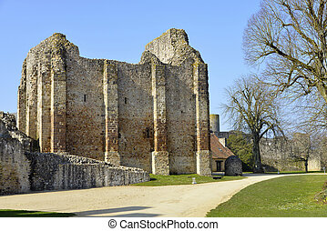 Castle of Sainte-Suzanne in France - Stone ramparts of old...