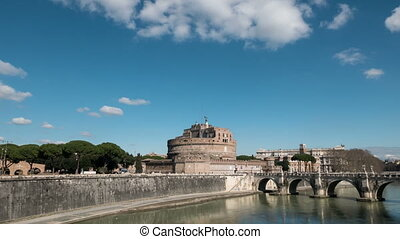 Castle of San Angelo, Panorama, Rome, Italy. Time Lapse