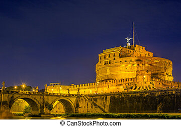 Castel Sant Angelo (Castle of the Holy Angel) in Rome at night