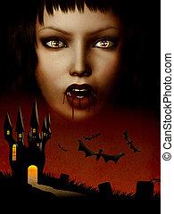 Castle of vampire - Grunge illustration of halloween castle...
