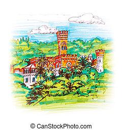 Castle on a hill in Genoa, Liguria, Italy
