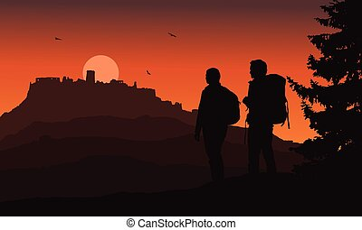 Castle on a hill with two tourists in the foreground, under a night orange sky and flying birds - vector, Spis Castle