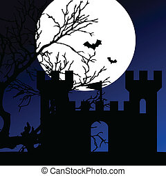 castle on a moonlight color vector