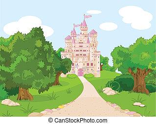 Beautiful fairytale castle on hill