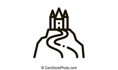 castle on hill Icon Animation. black castle on hill animated icon on white background