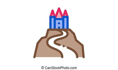 castle on hill Icon Animation. color castle on hill animated icon on white background