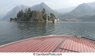 Castle on island on a lake - Castle on Loreto island on Iseo...