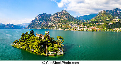 Castle on Loreto Island on Lake Iseo in Italy