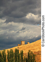 Castle on the background of cloudy sky