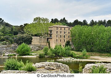 castle on the hill, photo as a background , in abbaye de montmajeur village Camargue, france