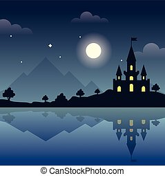 Castle on the hills at night. Magic night. Reflection