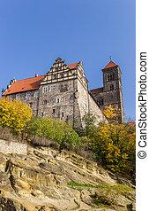 Castle on top of the rock in Quedlinburg