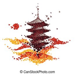 castle origami autumn landscape - abstract background vector