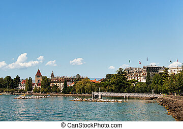 Castle Ouchy and Lake Geneva promenade in Lausanne