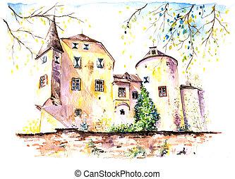 Castle - Part of old castle watercolor painted.Picture I...