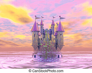 Pink castle surrounded by water.