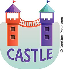 Castle playground towers logo, cartoon style