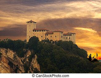 """""""Rocca d'Angera"""", Italian castle over wonderful sunset sky"""