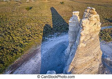 Castle Rock in Kansas prairie -aerial view