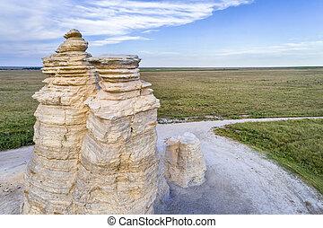 Castle Rock in Kansas prairie - aerial view