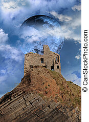 ballybunion castle on the rocks in the west coast of ireland in front of a full moon