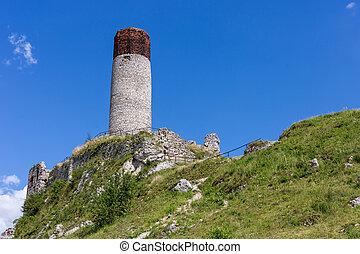 Castle ruins in Olsztyn. Silesia, Poland