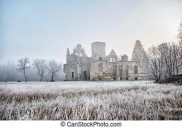 castle ruins in the morning sun. Estonia. Haapsalu. Ungru loss