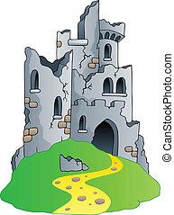 Castle ruins on hill - vector illustration.