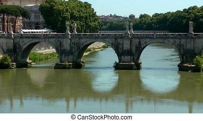 Castle Saint Angel. Tiber river, Rome. Italy. Time lapse...