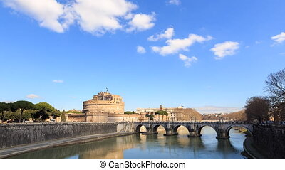 Castle Sant Angelo. Rome, Italy. Time Lapse