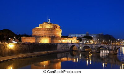 Castle Sant'Angelo, Reflection in the Tiber, Rome. Italy....