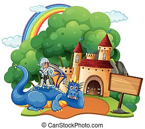 Castle scene with knight and dragon