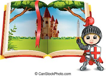 castle scenery in the book and a knight