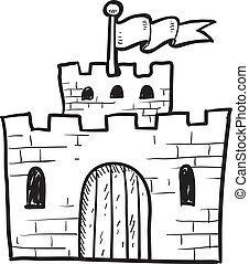 Doodle style castle or fortification illustration in vector format