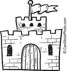 Castle sketch - Doodle style castle or fortification...