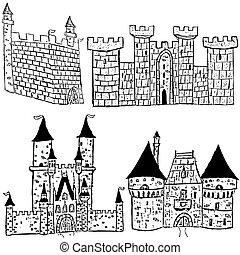 Castle sketches - Sketches of four different castle types...