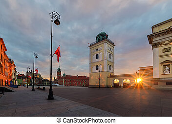 Castle square in the sunrise. Warsaw,