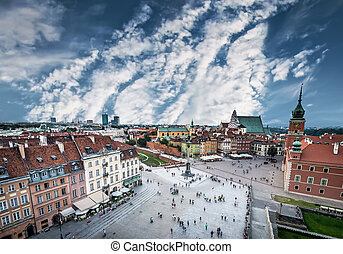 Castle square in Warsaw - Plac Zamkowy in Warsaw old town,...