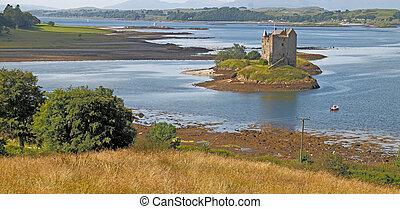 Castle Stalker is on an island on Loch linnhe, which is a...